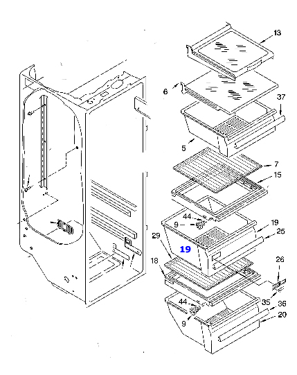 wp2188656 sears kenmore refrigerator crisper drawer rh genuineapplianceparts com kenmore refrigerator parts list manual kenmore refrigerator parts breakdown