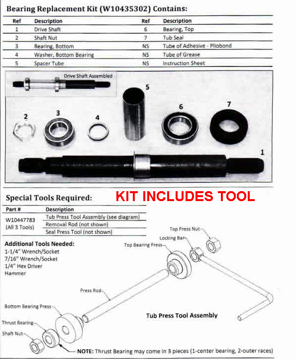 W10435302kit Whirlpool Cabrio Washer Tub Bearing Repair Kit
